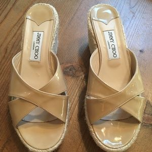 JIMMY CHOO Nude Patent Leather Wedge Sandal Size 9